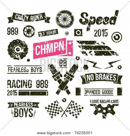 Car Races Club Badges In Retro Style