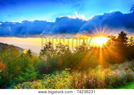 Blue Ridge Parkway late summer Appalachian Mountains Sunset Western NC Scenic Landscape vacation destination poster