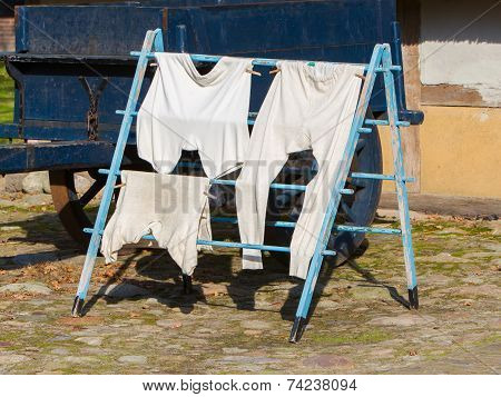 Vintage Clothes On Drying Rack
