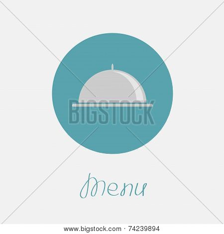 Silver Platter Cloche Circle Icon. Flat Design. Menu Cover. Flat Design