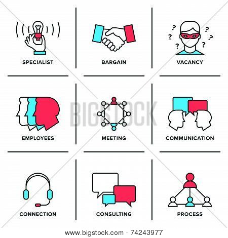 Business Management Line Icons Set