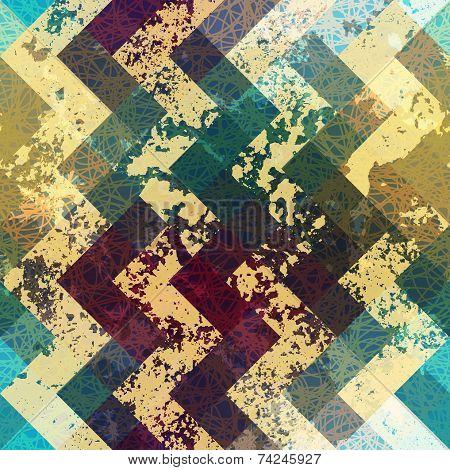 Seamless pattern. Grunge chevron pattern on blue background. poster
