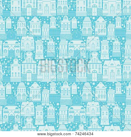Seamless Pattern With Fairy Tale Houses, Lanterns, Trees. Christmas City Endless Background. Light S