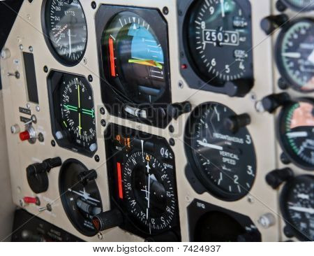 Aircraft instrument panel at 25,000 feet
