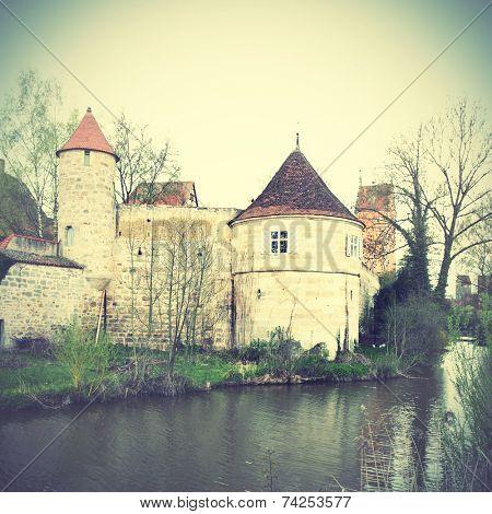 Town's walls of Dinkelsbuhl, Bavaria, Germany. Instagram style filtred