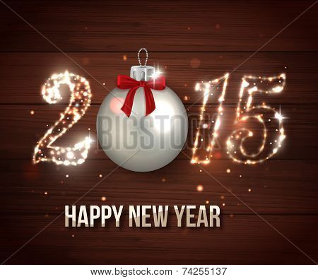 Happy New Year 2015 celebration concept on wooden background. Shining Christmas background. Vector illustration. poster