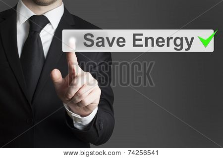 Businessman Pushing Flat Touchscreen Button Save Energy