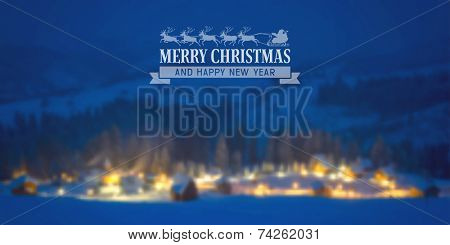 Christmas vintage card with the defocused snow-covered houses in forest. Vector illustration.