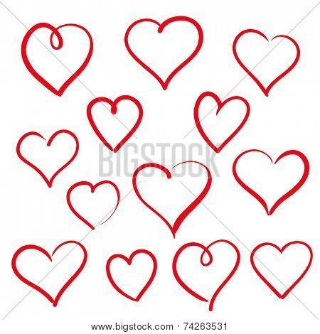 Set of hand drawn hearts