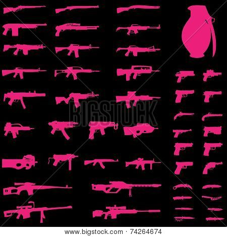 Illustration Set - Weapons - Pistols, Sub Machine Guns, Assault Rifles, Sniper Rifles, Lmgs, Knives,