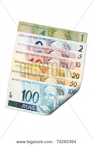 Reais (Real), front of Brazilian money. From one to hundred reais.