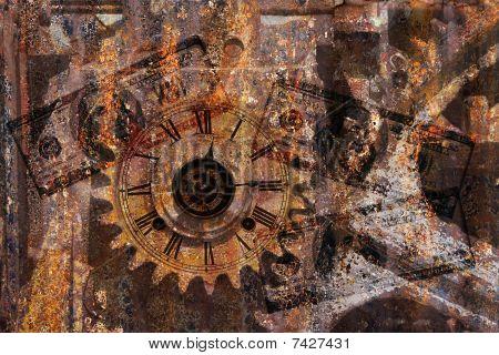 Gears, Clock, Money Background