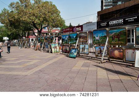 Almaty Arbat. Pedestrian Zone Street Jibek Joly