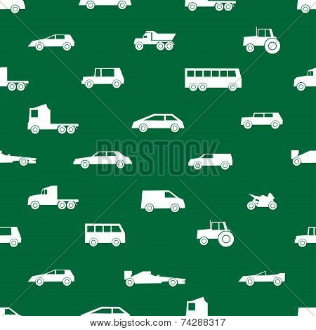 Simple Cars Black Silhouettes Icons Pattern Eps10
