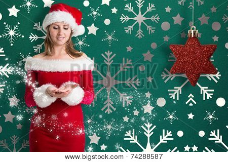 Pretty girl in santa outfit against snowflake wallpaper pattern poster