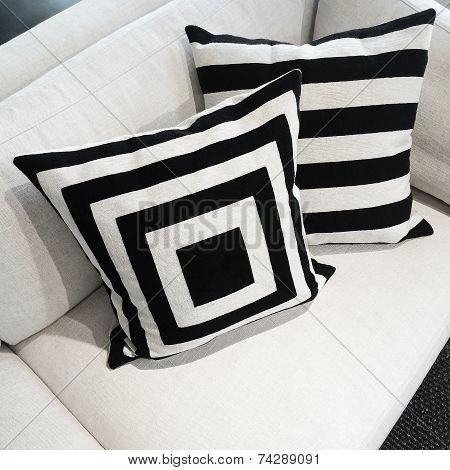 Black And White Cushions On A Sofa