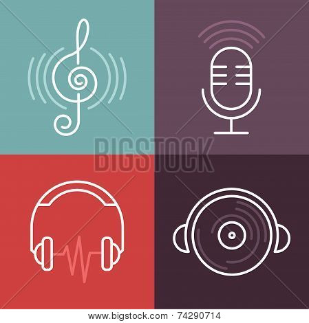 Vector Musical Logos And Icons In Outline Style