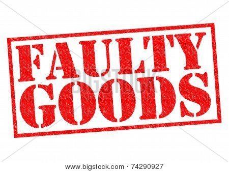 FAULTY GOODS red Rubber Stamp over a white background. poster