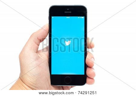 iPhone 5s with Twitter app