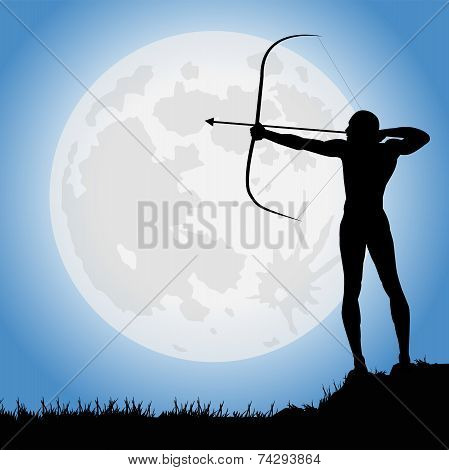 archer under the full moon