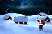 Santa claus ringing bell against starry sky over fir trees poster