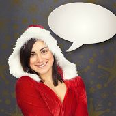 Pretty girl smiling in santa outfit against grey vignette poster