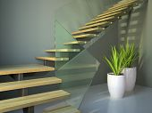 Empty room with staircase and plants angle view 3D poster