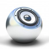 Silver sphere speaker 3D poster