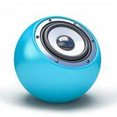 blue sphere speaker 3D poster
