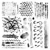 Expressive handcrafted texture set smears and fingerprints. Black to white background poster