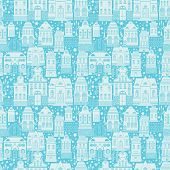 Seamless pattern with fairy tale houses lanterns trees. Christmas city endless background. Light silhouettes on blue background with snowflakes. Winter time. Ready to use as swatch poster