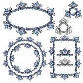 Set of Rectangular oval and round frames - floral ornaments and vintage design elements. poster