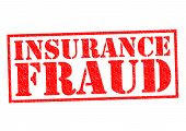 INSURANCE FRAUD red Rubber Stamp over a white background. poster