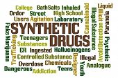 Synthetic Drugs word cloud on white background poster