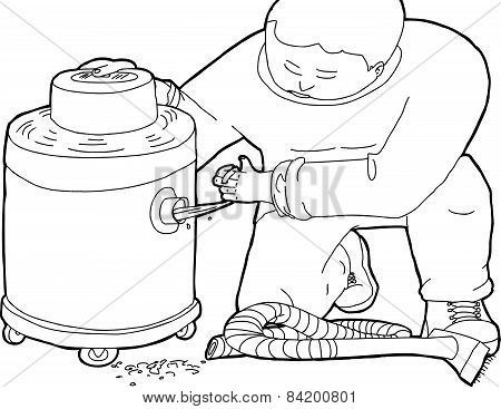 Outline illustration of janitor with clogged wet-dry vacuum poster