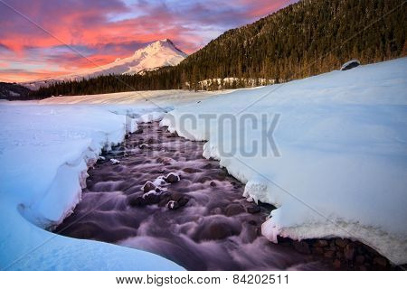 Vista of Mount Hood by White River