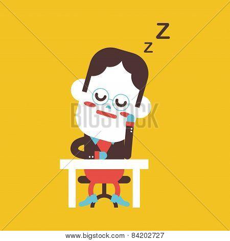 Character Illustration Design. Businessman Dozing Cartoon,