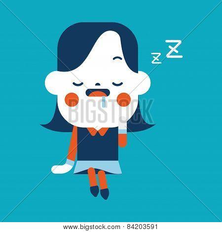 Character Illustration Design. Businesswoman Dozing Cartoon,