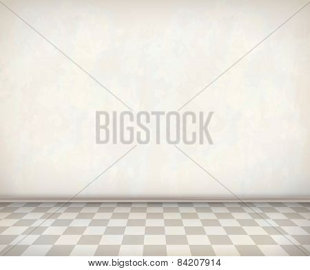 Empty Room White Wall Tile Floor