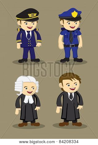 Pilot Policeman Judge and Lawyer in uniform and work attire. Professionals and occupations vector illustration isolated on brown plain background poster