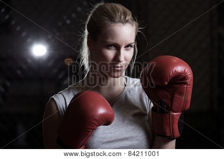 Boxing Woman Going To Fight