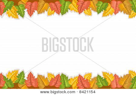 Autumn Border With Golden Leaves