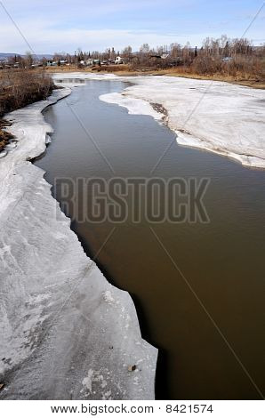 Arctic River thawing during Spring Breakup in Alaska