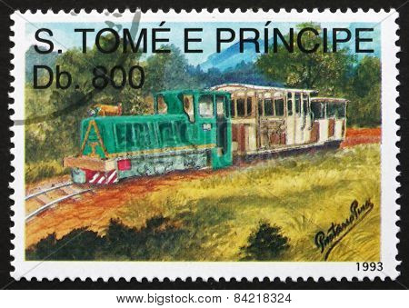 Postage Stamp Sao Tome And Principe 1993 Small Diesel Locomotive