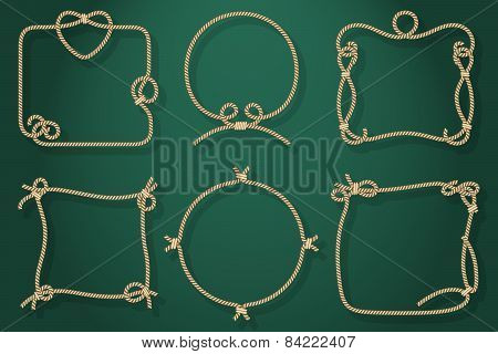 Set of Old Rope Frames in Different Unique Styles
