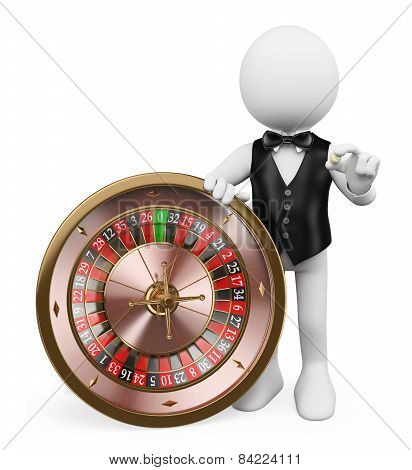 3D White People. Croupier With Roulette In A Casino