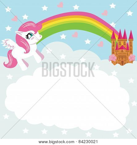 Card With A Cute Unicorn Rainbow And Fairy-tale Princess Castle