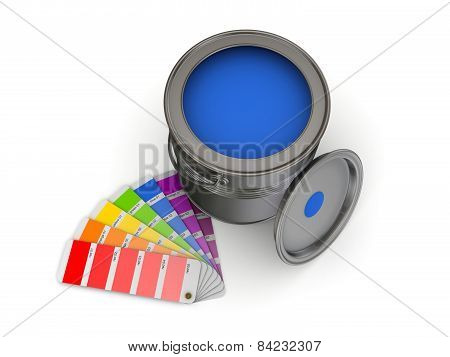 Colour sampler and paint can.