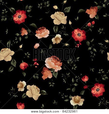 Seamless Floral Pattern With Roses On Black Background, Watercolor
