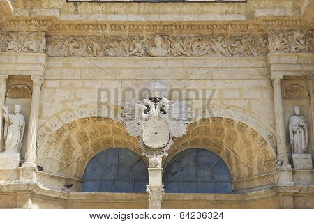 Exterior detail of the front entrance to the Cathedral of Santa Maria la Menor, Santo Domingo.
